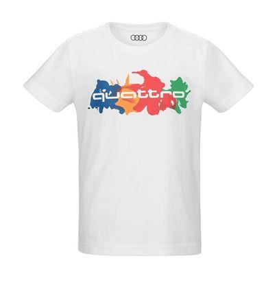 Resim Audi quattro T-shirt, Çocuk, Beyaz