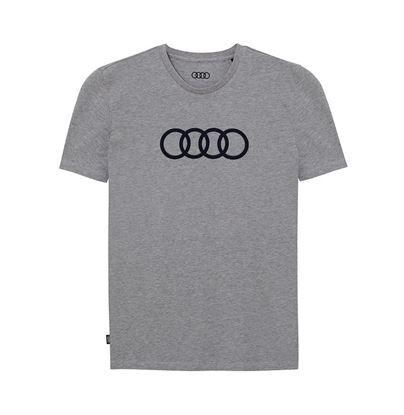 Resim Audi Rings T-Shirt , Erkek, Gri